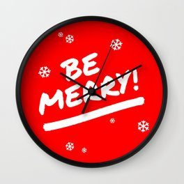 Bright Red Be Merry Christmas Snowflakes Wall Clock