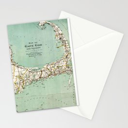 Cap Cod and Vicinity Map Stationery Cards