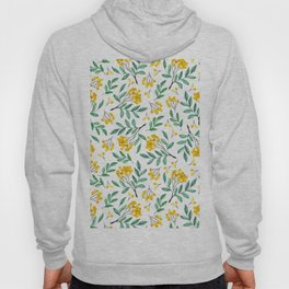 Hand painted yellow green watercolor berries floral pattern Hoody