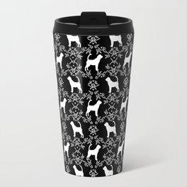 Bloodhound black and white minimal floral pattern dog breeds pet art Travel Mug