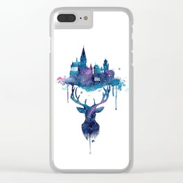 Always - Magical Deer in a Wizard World in watercolor Clear iPhone Case