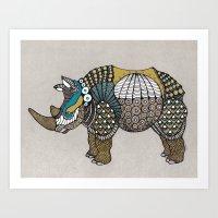 rhino Art Prints featuring Rhino by farah allegue