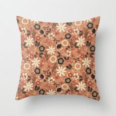 Festive Florals (Oranges) Throw Pillow