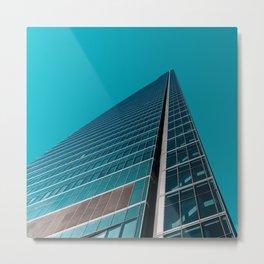 Skyscraper in Teal Blue Metal Print