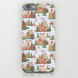 Gingerbread village pattern iPhone Case