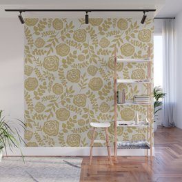 Gold Flower Pattern Wall Mural