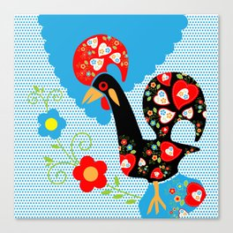 Portuguese Rooster of Luck with blue dots Canvas Print