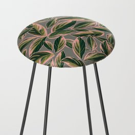 Calathea Leaves Pattern- Pink Green Gray Counter Stool