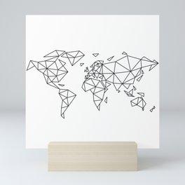Geometric world map Mini Art Print