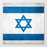 israel Canvas Prints featuring Israel Flag  by Jason Michael