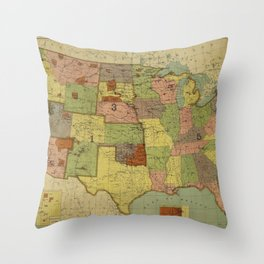 Map of Indian Reservations 1902 Throw Pillow