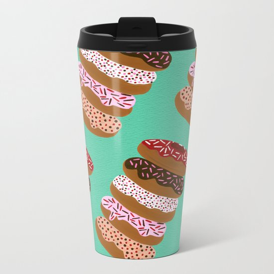 Stacked Donuts on Mint Metal Travel Mug