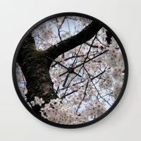 cyarin Wall Clocks featuring Sakura Blooming (Japan) by Julie Maxwell