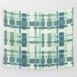 Woven design teal blue and green Wall Tapestry