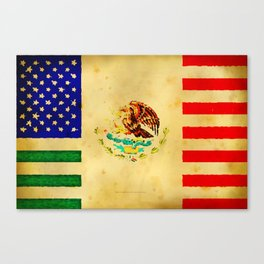 MEXICAN AMERICAN FLAG - 017 Canvas Print