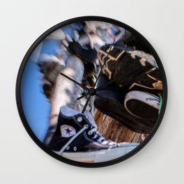 Hanging in the Shoe tree on Hwy 395 Wall Clock