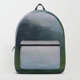 Gray Blue Navy Indigo Grass Green Abstract Painting Wall Art Prints, Nature Horizon, Modern Wall Art Backpack