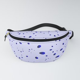 A lot of blue drops and petals on a cloudy background in nacre. Fanny Pack