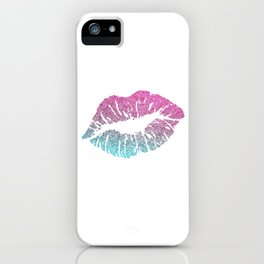 Kiss Lips Sparkle Glitter Valentine Sexy Love Good Vibe Pink iPhone Case