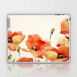 Poppy Flower Meadow- Floral Summer lllustration Laptop & iPad Skin