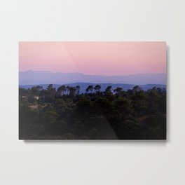 Sunset over the Pyrenees (Pyrénées) from Aragon, France Metal Print