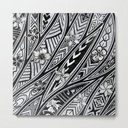 Vintage Hawaiian Tribal Floral Tattoo Tapa Print Metal Print