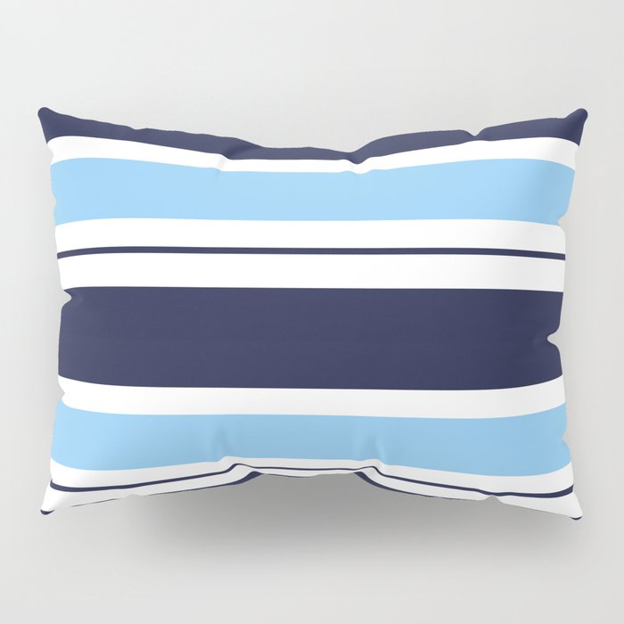 Blue Navy and Turquoise Stripes Pillow Sham