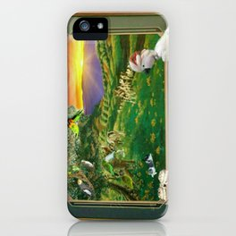 """Springtime Grazing in Napa Valley 24"""" x 36"""" oil over clay with illustrations of our rescued parrots iPhone Case"""