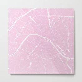 Paris France Minimal Street Map - Pretty Pink Metal Print