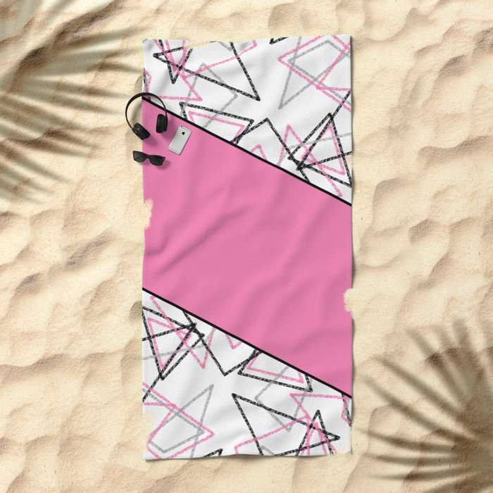 Abstract pink combo pattern . Beach Towel