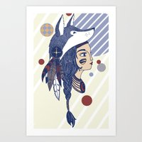 native american Art Prints featuring Native American by Katie Ruby Illustrator