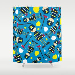 Cute Cartoon Fireman Pattern Shower Curtain