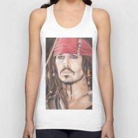 jack sparrow Tank Tops featuring Captain Jack Sparrow by JadeJonesArt
