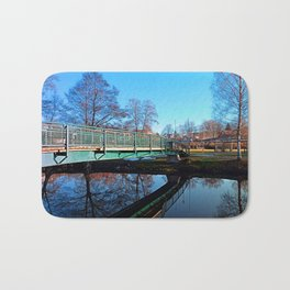 A bridge, the river and reflections II | waterscape photography Bath Mat
