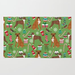 Boxer dog christmas pattern must have holiday themed dog breed pet friendly accessories for home Rug