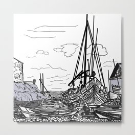 Boats on the Sea . Home Decor Graphicdesign Metal Print
