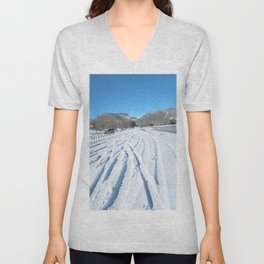 Watercolor Human Impact, Aesthetic Damage 02, Snow Track Cacophony Unisex V-Neck