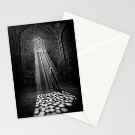 Rays of Sun through medieval blind window tracery black and white photograph / art photography Stationery Cards