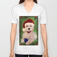 westie V-neck T-shirts featuring A Very Westie Christmas by Heidi Clifton