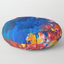 Humo, Vibrant wet on wet abstract, NYC artist Floor Pillow