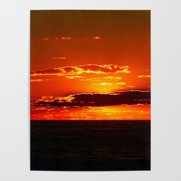 Sunset with Silver lined Clouds Poster