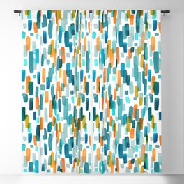 Coral and Teal Watercolor Abstract Blackout Curtain