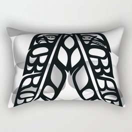 Heiltsuk Eagle & Raven Feathers Rectangular Pillow