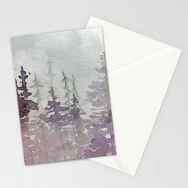 Purple Foggy Trees Stationery Cards