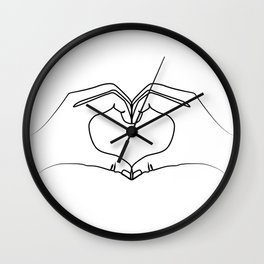 Hands making heart shape Wall Clock