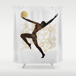 Cosmic Aboriginal Ethnic Black Gold Dancer Shower Curtain