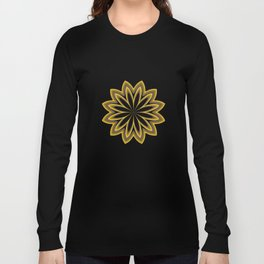 Abstract Flower in Gold Long Sleeve T-shirt