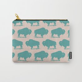 Buffalo Bison Pattern Turquoise and Beige Carry-All Pouch