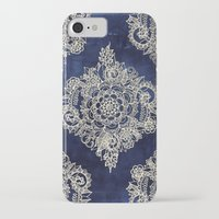 dark tower iPhone & iPod Cases featuring Cream Floral Moroccan Pattern on Deep Indigo Ink by micklyn