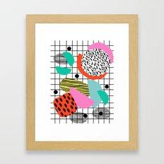 Posse - 1980's style throwback retro neon grid pattern shapes 80's memphis design neon pop art Framed Art Print